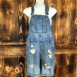 GAP Jeans - Gap - Distressed Raw Hem Denim Overall Shorts - XS